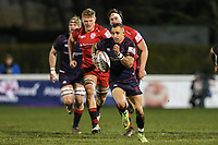 Craig Holland of London Scottish breaks free during the Greene King IPA Championship match between London Scottish Football Club and Jersey Reds at Richmond Athletic Ground, Richmond, United Kingdom on 16 March 2018. Photo by David Horn.