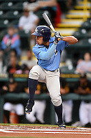 Charlotte Stone Crabs second baseman Kean Wong (4) at bat during a game against the Bradenton Marauders on April 20, 2015 at McKechnie Field in Bradenton, Florida.  Charlotte defeated Bradenton 6-2.  (Mike Janes/Four Seam Images)