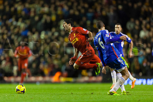01.01.2014 Liverpool, England. Luis Suárez  during the Premier League game between Liverpool and Hull City from Anfield.