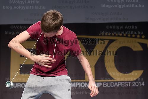 Jan Hlinka of Slovakia competes during the Yoyo European Championships in Budapest, Hungary on February 23, 2014. ATTILA VOLGYI