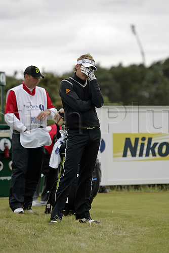 21 July 2007: English golfer Ian Poulter (ENG) shows his disappointment after a poor shot from the 15th tee during the third round of The Open Championship at Carnoustie, Scotland. Photo: Glyn Kirk/Actionplus....070721 golf british loser losing