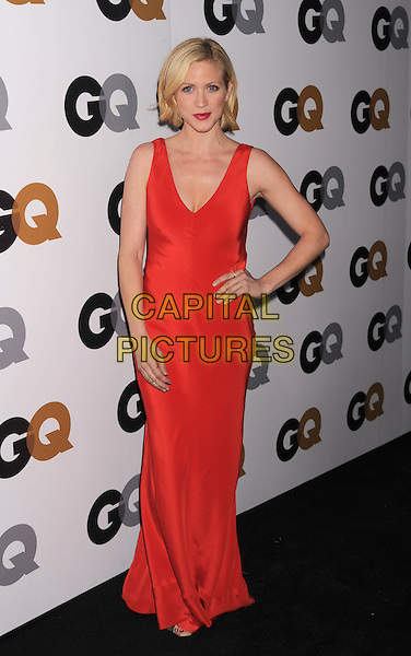 Brittany Snow.Arriving at the GQ Men Of The Year Party at Chateau Marmont Hotel in Los Angeles, California, USA..November 13th, 2012.full length dress hand on hip silk satin red sleeveless .CAP/ROT/TM.©Tony Michaels/Roth Stock/Capital Pictures