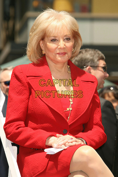 BARBARA WALTERS .Barbara Walters Star Ceremony on the Hollywood Walk of Fame, Hollywood, California, USA..June 14th, 2007.half length red jacket suit gold necklace sitting .CAP/ADM/RE.©Russ Elliot/AdMedia/Capital Pictures