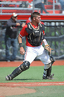 Rutgers University Scarlet Knights catcher R.J. Devish (16) during a game against the University of Cincinnati Bearcats at Bainton Field on April 19, 2014 in Piscataway, New Jersey. Rutgers defeated Cincinnati 4-1.  (Tomasso DeRosa/ Four Seam Images)