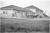 Station built in 1905.  View of baggage end and main building from streetside.  Brick and masonry buildings.<br /> D&amp;RG  Grand Junction, CO  Taken by Mollette, Erskine (Rex) - after 1905