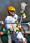 17 March 2012: University of Vermont Catamount Attackman/Midfielder Dan Gutberlet, a Freshman from Freeland, MD, in action against against the Sacred Heart University Pioneers at Virtue Field in Burlington, Vermont. The Catamounts defeated the visiting Pioneers 12-11 with only 10 seconds remaining in their non-conference matchup. Mandatory Credit: Ed Wolfstein Photo
