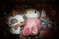 CHINA. Beijing. A large 'Hello Kitty' stuffed toy in the shopping district of Xinjiekou . 2008
