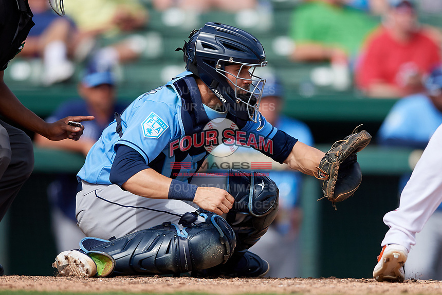 Tampa Bay Rays catcher Anthony Bemboom (67) during a Grapefruit League Spring Training game against the Baltimore Orioles on March 1, 2019 at Ed Smith Stadium in Sarasota, Florida.  Rays defeated the Orioles 10-5.  (Mike Janes/Four Seam Images)