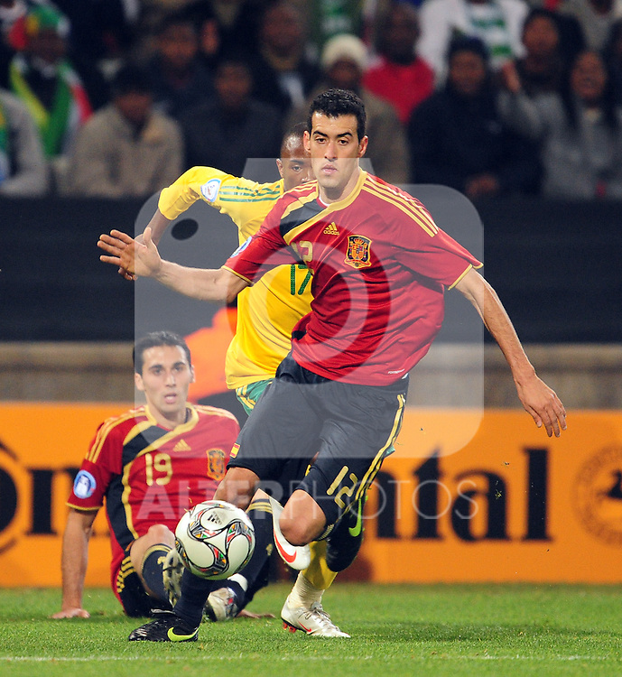 Sergio Busquets  during the soccer match of the 2009 Confederations Cup between Spain and South Africa played at the Freestate Stadium,Bloemfontein,South Africa on 20 June 2009.  Photo: Gerhard Steenkamp/Superimage Media.