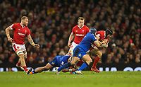 1st February 2020; Millennium Stadium, Cardiff, Glamorgan, Wales; International Rugby, Six Nations Rugby, Wales versus Italy; Leigh Halfpenny of Wales is tackled by Luca Bigi of Italy