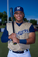 AZL Brewers Gold Juan Martinez (20) poses for a photo before an Arizona League game against the AZL Brewers Blue on July 13, 2019 at American Family Fields of Phoenix in Phoenix, Arizona. The AZL Brewers Blue defeated the AZL Brewers Gold 6-0. (Zachary Lucy/Four Seam Images)