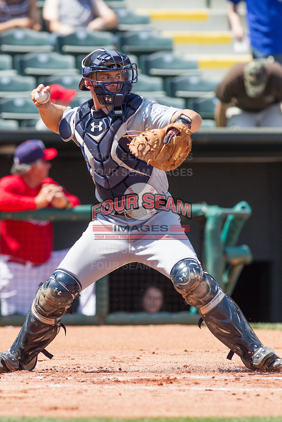 New Orleans Zephyrs catcher Rob Brantly (6) throws to 2nd base during the Pacific League game at the Chickasaw Bricktown Ballpark against the Oklahoma City RedHawks on April 13, 2014 in Oklahoma City, Oklahoma.  The RedHawks defeated the Zephyrs 4-3.  (William Purnell/Four Seam Images)