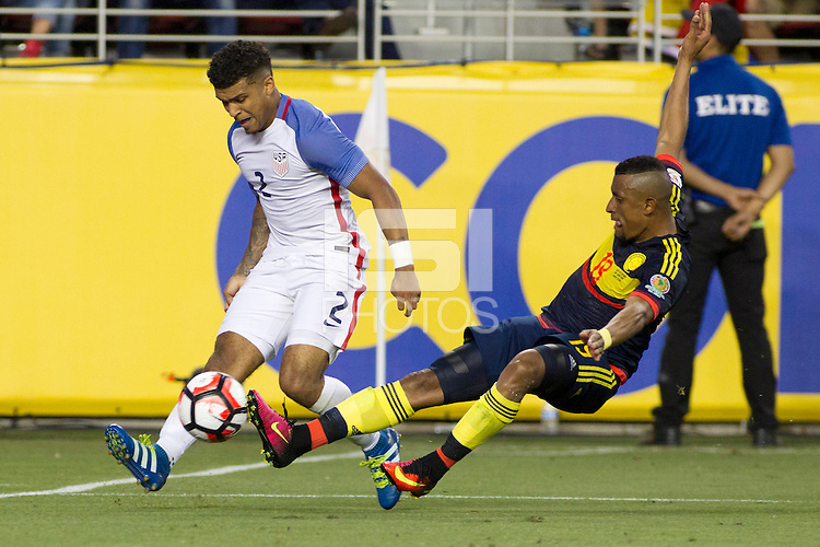 Action photo during the match United States vs Colombia, Corresponding Group -A- America Cup Centenary 2016, at Levis Stadium<br /> <br /> Foto de accion durante el partido Estados Unidos vs Colombia, Correspondiante al Grupo -A-  de la Copa America Centenario USA 2016 en el Estadio Levis, en la foto: i-d) DeAndre Yedlin de USA y Farid Diaz de Colombia<br /> <br /> <br /> 03/06/2016/MEXSPORT/Victor Posadas.