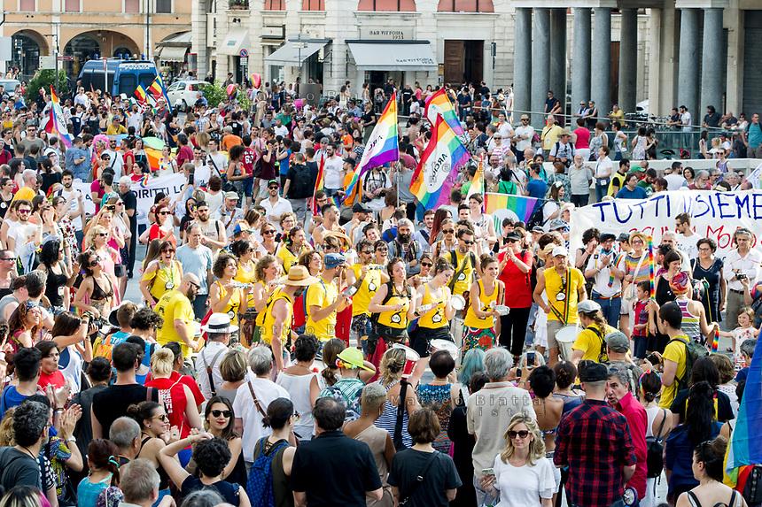 Gay pride Brescia nella foto corteo in piazza Vittoria cronaca Brescia 17/06/2017 foto Matteo Biatta<br /> <br /> Gay pride Brescia in the picture procession in Vittoria square chronicle Brescia 17/06/2017 photo by Matteo Biatta