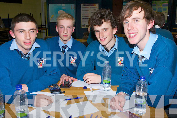 QUIZ: Leaving cert students from St Michael's College, Listowel who took part in the Team Maths 2013 up in the ITT South Campus, Tralee on Friday evening, L-r: Jake Moriarty, Aldas Kruminis, William Wall and Conor Dillon.