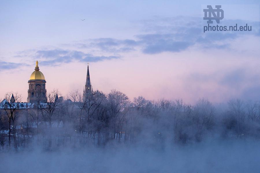 Feb. 27, 2015; Sunrise over campus. (Photo by Matt Cashore/University of Notre Dame)