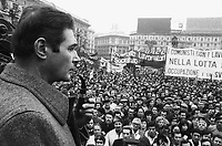 - the secretary of CGIL labor union Luciano Lama in Duomo square during a general strike  (Milan, 1976)....- il segretario del sindacato CGIL Luciano Lama in piazza del Duomo durante uno sciopero generale (Milano, 1976)