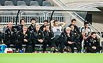 Stockholm 2015-03-01 Fotboll Svenska Cupen Hammarby IF - Landskrona BoIS :  <br /> Hammarbys tr&auml;nare Nanne Bergstrand ser nedst&auml;md ut p&aring; avbytarb&auml;nken tillsammans med assisterande tr&auml;nare Patrik Hansson , assisterande tr&auml;nare Carlos Banda , M&aring;ns S&ouml;derqvist , Nahir Besara , Linus Hallenius under matchen mellan Hammarby IF och Landskrona BoIS <br /> (Foto: Kenta J&ouml;nsson) Nyckelord:  Fotboll Svenska Cupen Cup Tele2 Arena Hammarby HIF Bajen Landskrona BOIS depp besviken besvikelse sorg ledsen deppig nedst&auml;md uppgiven sad disappointment disappointed dejected