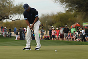 January 31st 2019, Scotsdale, Arizona, USA; Harold Varner III putts on the 9th green during the first round of the Waste Management Phoenix Open