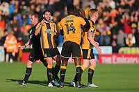 Jabo Ibehre of Cambridge scores the first goal for his team and celebrates with his team mates during Cambridge United vs Sutton United , Emirates FA Cup Football at the Cambs Glass Stadium on 5th November 2017