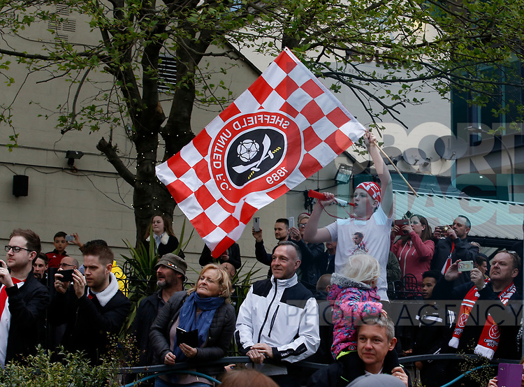 Fans wait to see the players during the open top bus parade from Bramall Lane Stadium to Sheffield Town Hall, Sheffield. Picture date: May 2nd 2017. Pic credit should read: Simon Bellis/Sportimage