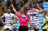 Will Spencer of Leicester Tigers is shown a red card by referee Ian Tempest. Gallagher Premiership match, between Wasps and Leicester Tigers on September 16, 2018 at the Ricoh Arena in Coventry, England. Photo by: Patrick Khachfe / JMP