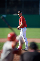 Batavia Muckdogs relief pitcher Jameson McGrane (31) gets ready to deliver a pitch during a game against the Auburn Doubledays on September 2, 2018 at Dwyer Stadium in Batavia, New York.  Batavia defeated Auburn 5-4.  (Mike Janes/Four Seam Images)