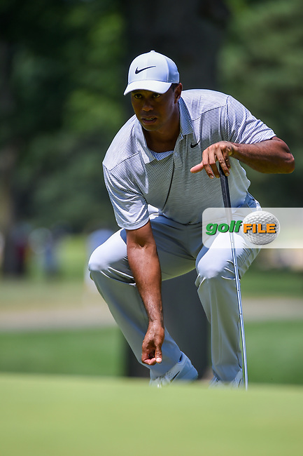 Tiger Woods (USA) looks over his putt on 2 during 3rd round of the World Golf Championships - Bridgestone Invitational, at the Firestone Country Club, Akron, Ohio. 8/4/2018.<br /> Picture: Golffile   Ken Murray<br /> <br /> <br /> All photo usage must carry mandatory copyright credit (© Golffile   Ken Murray)