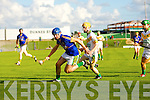 Pat Corridan Lixnaw in action against Tommy Maunsell and Adrian Royle Kilmoyley in the County Senior Hurling final at Austin Stack Park on Saturday.
