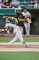 Luis Rengifo (5) of the Salt Lake Bees bats against the Nashville Sounds at Smith's Ballpark on July 28, 2018 in Salt Lake City, Utah. The Bees defeated the Sounds 11-6. (Stephen Smith/Four Seam Images)