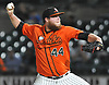 Matt Larkins #44, Long Island Ducks starting pitcher, delivers in the top of the fourth inning in Game 1 of the Atlantic League Championship Series against the York Revolution at Bethpage Ballpark in Central Islip, NY on Wednesday, Sept. 27, 2017.