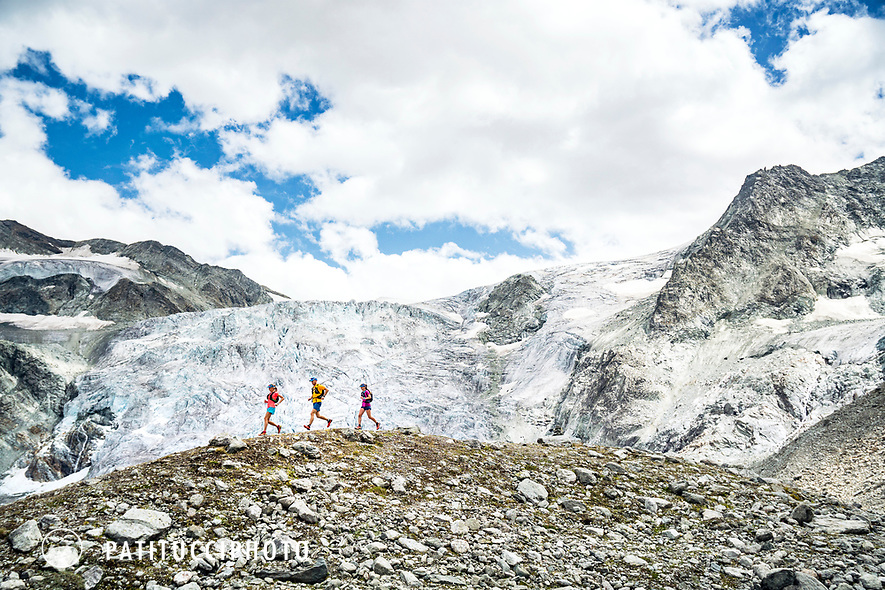 Trail running along the Glacier de Moiry, Switzerland