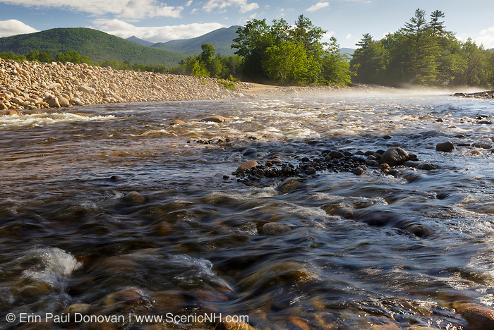 A foggy morning on the East Branch of the Pemigewasset River in Lincoln, New Hampshire during the summer months .