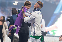 Real Madrid Sergio Ramos playing with his kid during the celebration of the 12th UEFA Championship won by Real Madrid  at Santiago Bernabeu Stadium in Madrid, June 04, 2017. Spain.<br /> Foto ALTERPHOTOS/BorjaB.Hojas/Insidefoto
