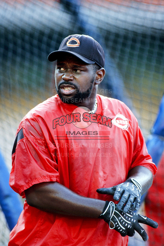 Dmitri Young of the Cincinnati Reds before a 1999 Major League Baseball season game against the Los Angeles Dodgers in Los Angeles, California. (Larry Goren/Four Seam Images)
