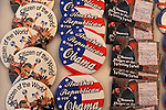 Barack Obama pins on sale at an exhibit on the American presidential experience at Invesco Field in Denver, Colorado on August 22, 2008.   The Democratic National Convention officially kicks off Monday August 25 at the nearby Pepsi Center.