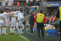 Liverpool manager Jurgen Klopp (C) stands impassive as Jack Cork of Swansea City celebrates his goal with team mates during the Barclays Premier League match between Swansea City and Liverpool at the Liberty Stadium, Swansea on Sunday May 1st 2016