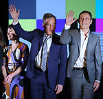 "Tatiana Maslany, Bryan Cranston and Tony Goldwyn during the Broadway Opening Night Performance Curtain Call for ""Network"" at the Belasco Theatre on December 6, 2018 in New York City."