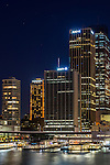 Circular Quay skyline at night time, Sydney, NSW, Australia