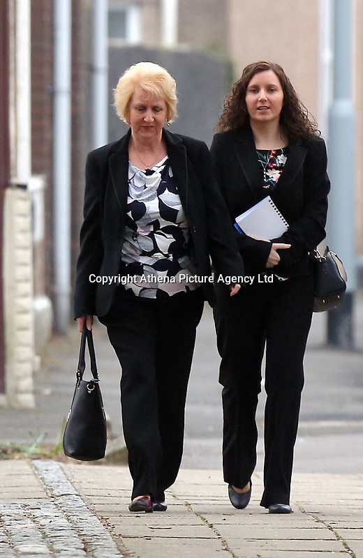 "Pictured: Nursery owner Katie Davies (R) arrives at Swansea Crown Court. 28 March 2017<br /> Re: Toddlers at a private nursery were force fed, gagged and picked up by their wrists, Swansea Crown court has heard.<br /> Three childcare professionals are accused of cruelty at the busy nursery which had a ""rough house culture"".<br /> The whistle was blown by sixthformers on work placements at the nursery which looks after newborn infants and children up to the age of seven.<br /> ""The children concerned were left distressed and traumatised.<br /> The mother of one of the children sobbed in the public gallery after hearing how he was treated at the Bright Sparks nursery in Port Talbot, South Wales,<br /> Owner and manager Katie Davies, 32, deputy manager Christina Pinchess, 31, and and staff member Shelbie Forgan, 22, deny the child cruelty charges against them."