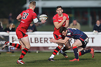 Match action from the Greene King IPA Championship match between London Scottish Football Club and Jersey at Richmond Athletic Ground, Richmond, United Kingdom on 18 February 2017. Photo by David Horn / PRiME Media Images.