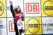 2nd December 2017, Moenchengladbach, Germany;  Second-placed Miyabi Onitsuka from Japan standing on the podium after the Snowboard World Cup at the SparkassenPark in Moenchengladbach, Germany, 2 December 2017.