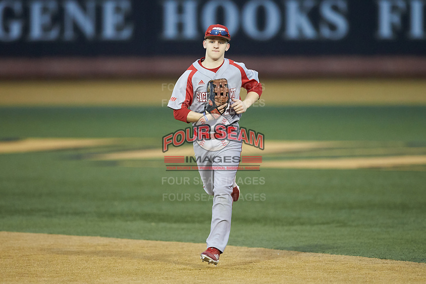 Sacred Heart Pioneers center fielder Justin Jordan (22) jogs off the field between innings of the game against the Wake Forest Demon Deacons at David F. Couch Ballpark on February 15, 2019 in  Winston-Salem, North Carolina.  The Demon Deacons defeated the Pioneers 14-1. (Brian Westerholt/Four Seam Images)