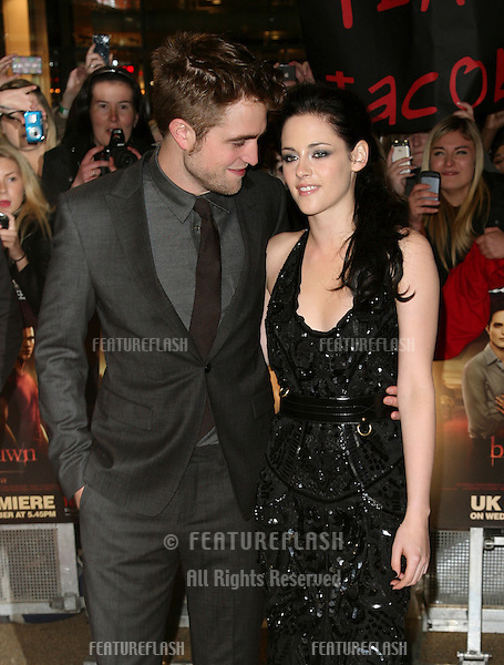 Robert Pattinson and Kristen Stewart arriving for the UK premiere of The Twilight Saga: Breaking Dawn Part 1 at Westfield Stratford City, London. 17/11/2011 Picture by: Alexandra Glen / Featureflash
