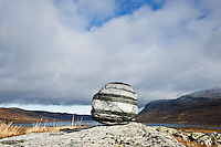 Rock in mountain wilderness, Kungsleden trail, Lapland, Sweden