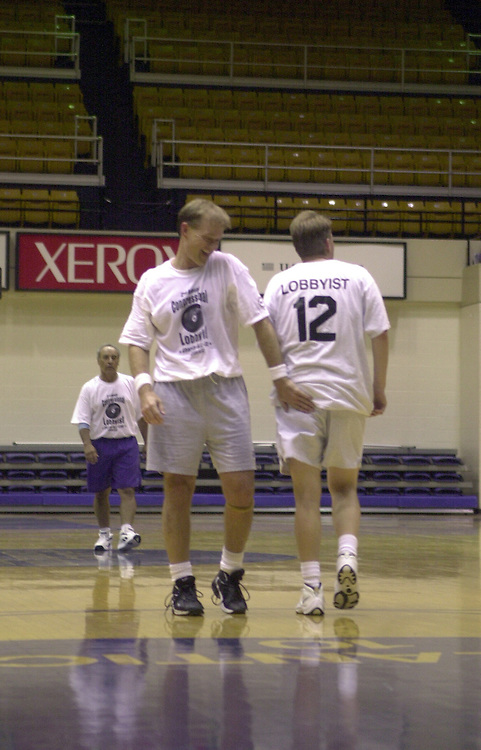 basketball6(TW)091300 -- Kenny Hulshof shows some good sportsmenship during the 2nd Annual Congress Vs. Lobbyists Charity Basketball Game.  The Congressmen beat the Lobbyists 70-67...
