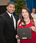 Rodney with Erika Marron and her scholarship award