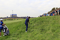 Rory McIlroy Team Europe plays his 2nd shot from the deep rough on the 9th hole during Friday's Fourball Matches at the 2018 Ryder Cup, Le Golf National, Iles-de-France, France. 28/09/2018.<br /> Picture Eoin Clarke / Golffile.ie<br /> <br /> All photo usage must carry mandatory copyright credit (© Golffile | Eoin Clarke)