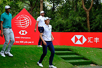Brooks Koepka (USA) Haotong Li (CHN) and Tony Finau (USA) during the 1st round at the WGC HSBC Champions 2018, Sheshan Golf Club, Shanghai, China. 25/10/2018.<br />