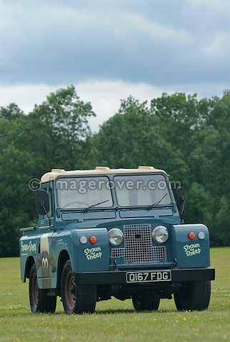 The Shaun the Sheep Land Rover. Dunsfold Collection Open Day 2009. NO RELEASES AVAILABLE.